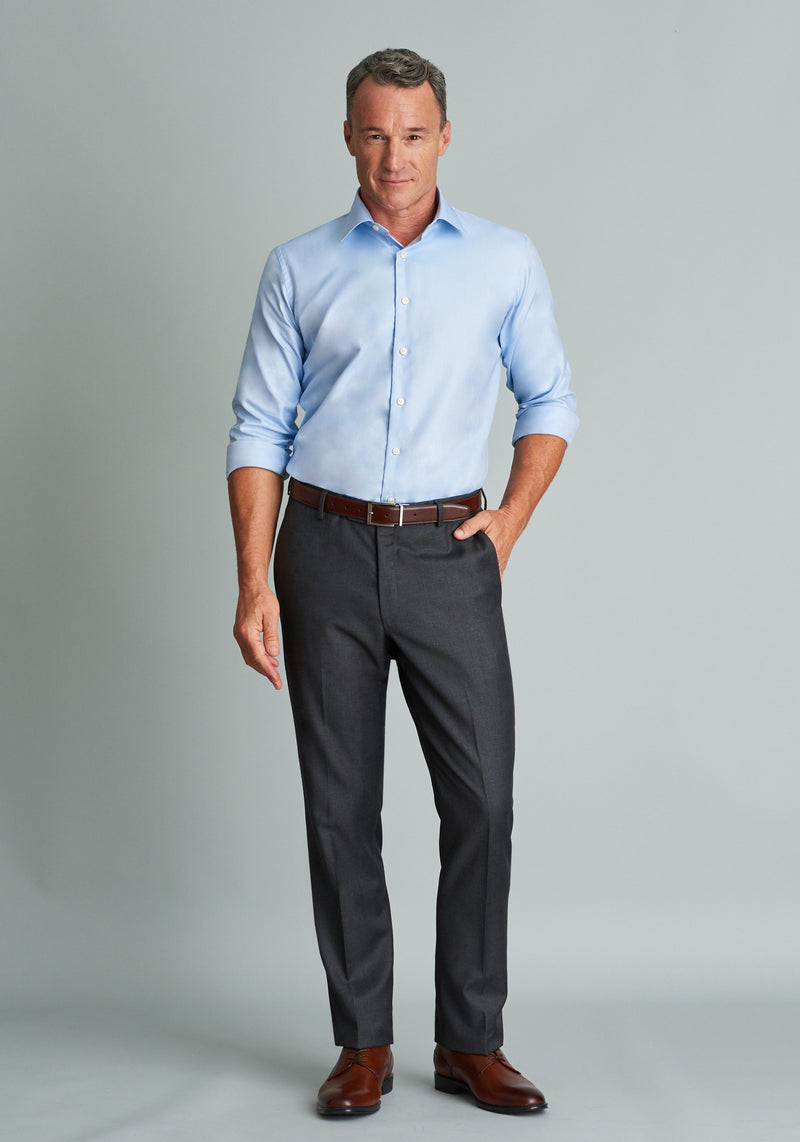 Grey Flat Front Trousers - Classic Fit