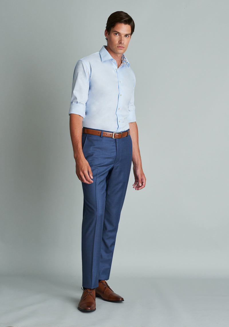 British Blue Flat Front Trousers