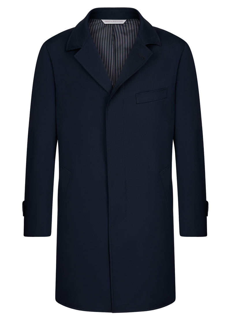 Navy Double Faced Carlton Overcoat