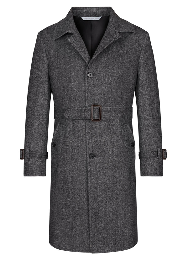 Grey Herringbone Belted Topcoat