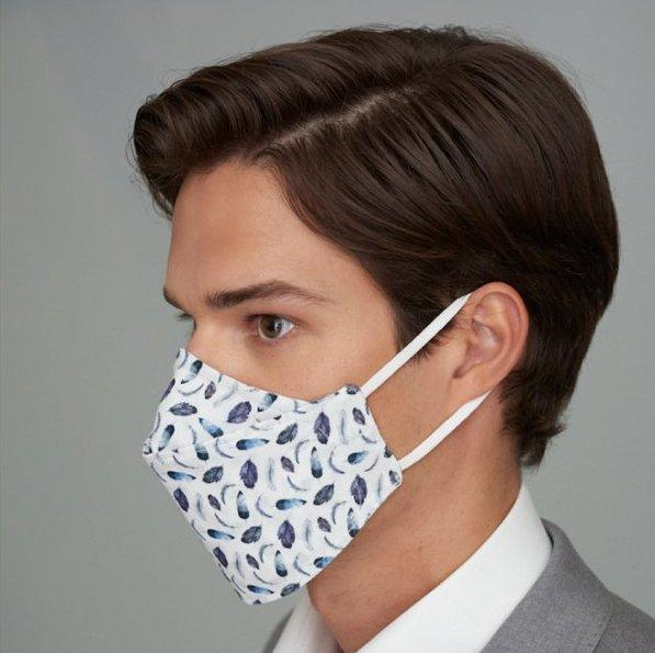 Blue Oxford Flower Mask