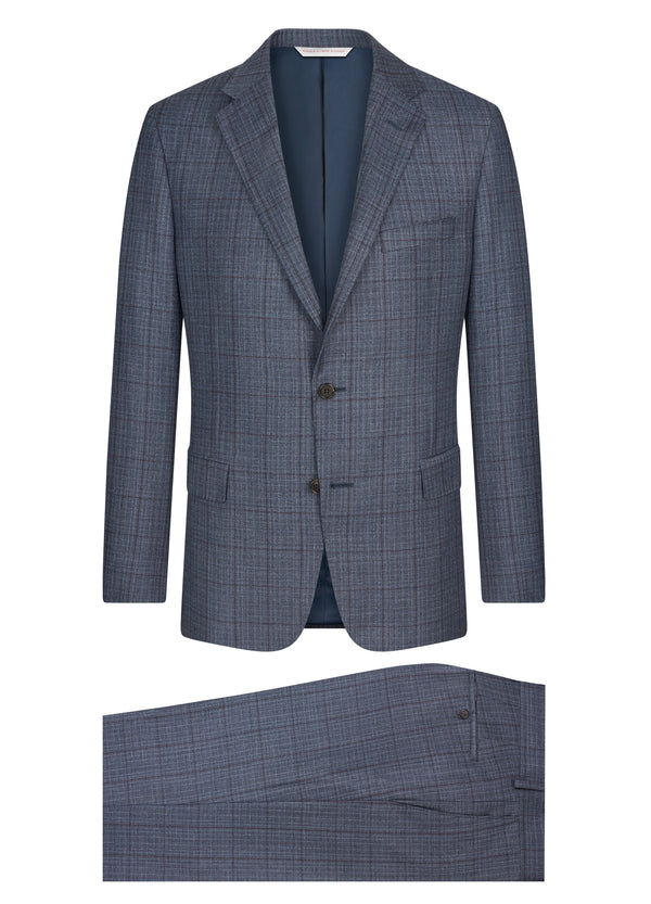 Canadian made Blue Tweed Windowpane Classic Fit Suit from Samuelsohn
