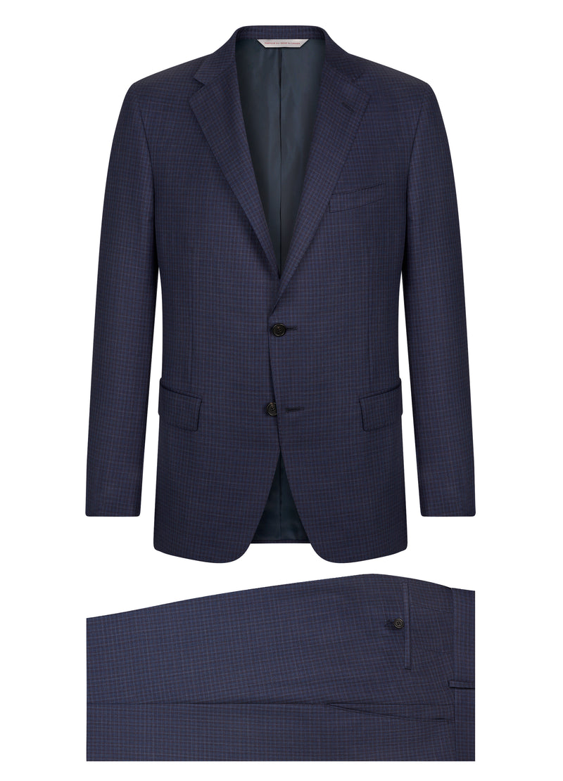 Canadian made Blue Minicheck Classic Suit from Samuelsohn
