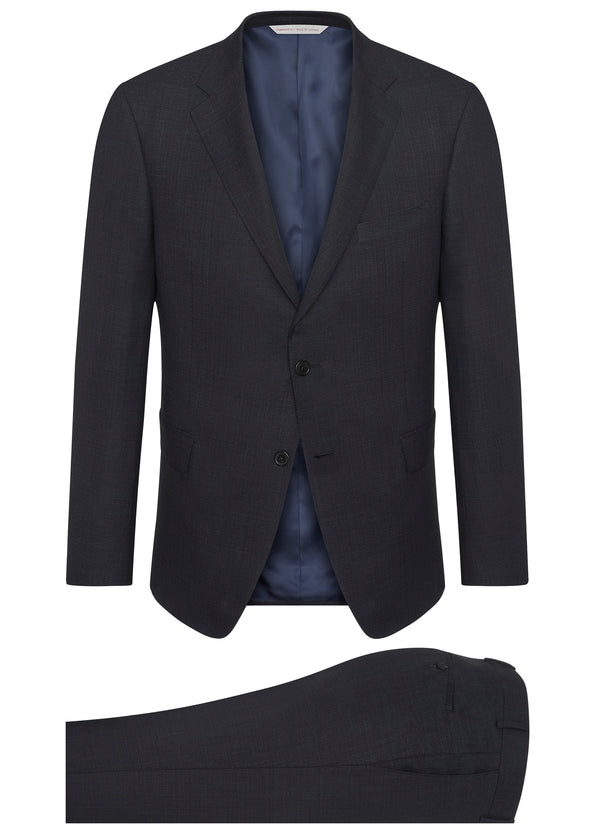 Blue Ice Wool Sharkskin Suit - Trim Fit