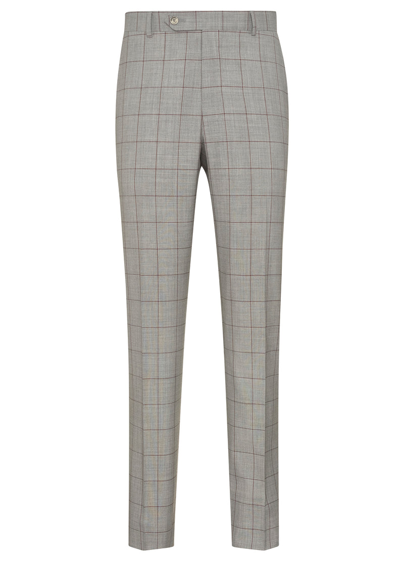 Grey With Burgundy Windowpane Suit