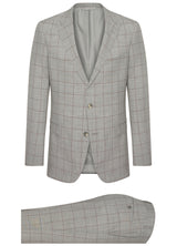 Canadian made Grey With Burgundy Windowpane Suit from Samuelsohn