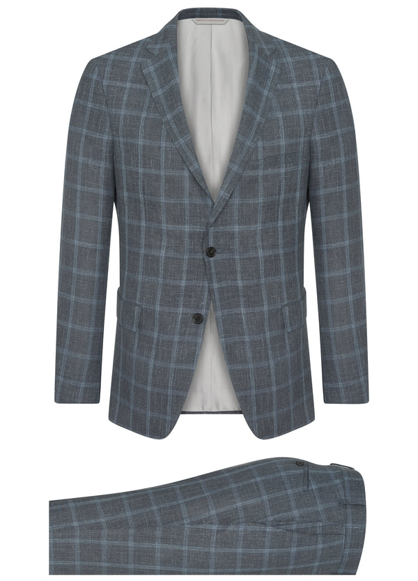 Canadian made Grey with Blue Windowpane Suit from Samuelsohn