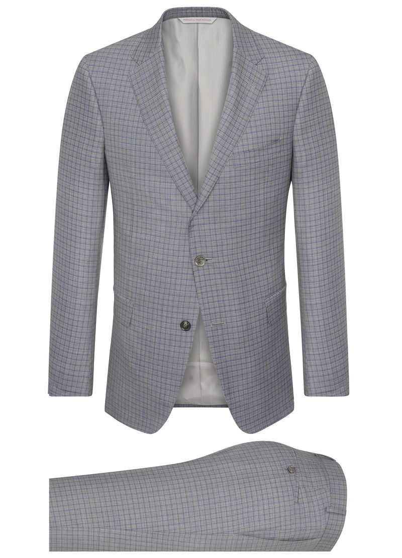 Canadian made Grey Mini-check Icewool Silk Suit from Samuelsohn
