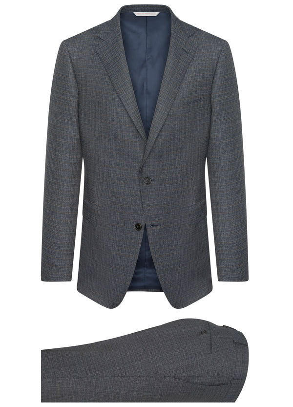 Canadian made Blue Modern Check Suit from Samuelsohn