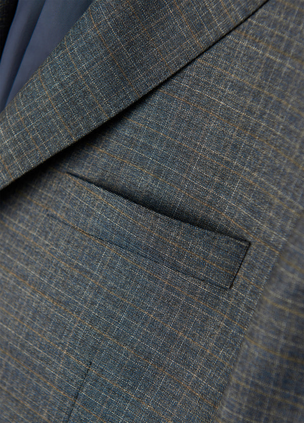 Blue Grey Modern Check Suit