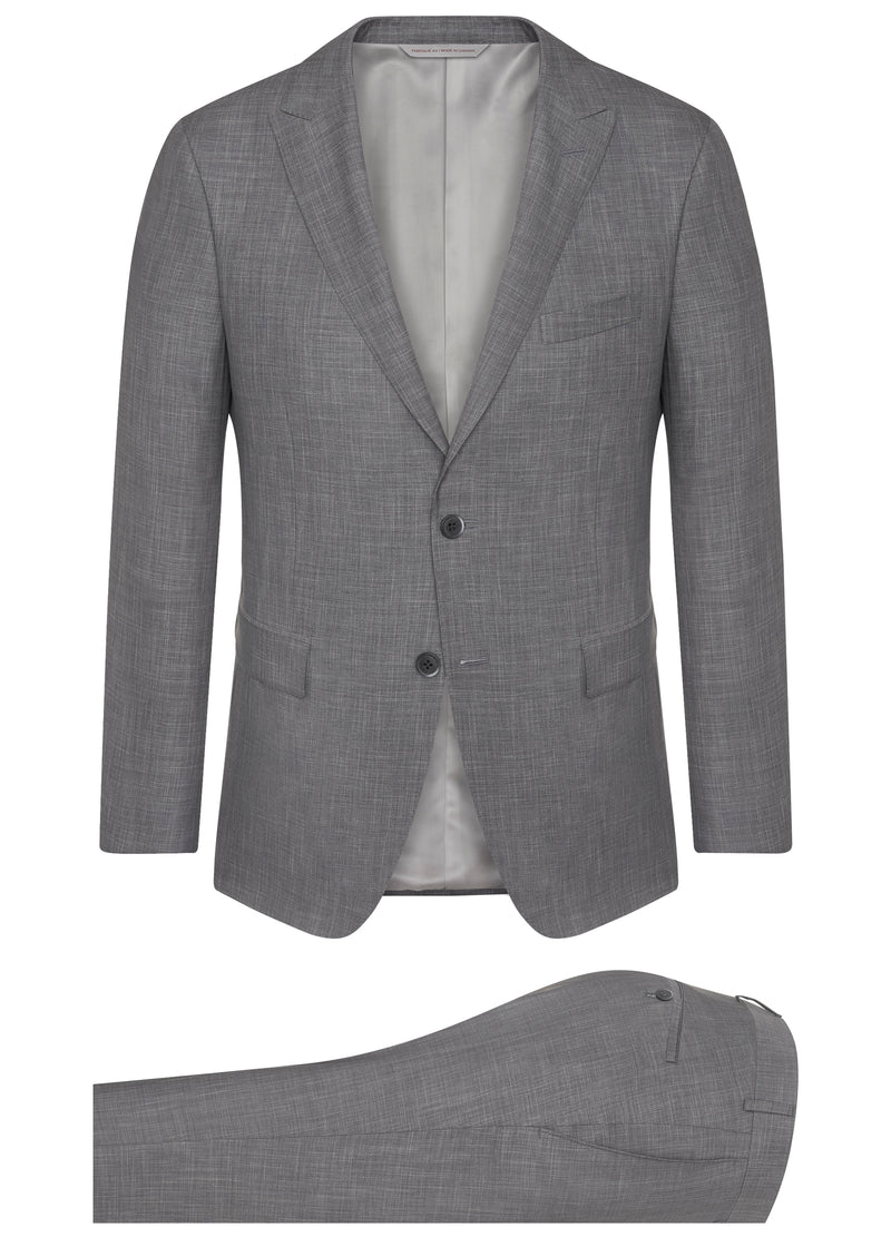 Canadian made Printed Icewool Silk: Light grey sharkskin from Samuelsohn