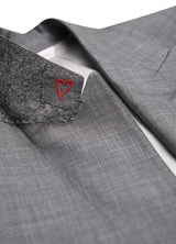 Light Grey Ice Wool Silk Sharkskin Suit - Trim Fit
