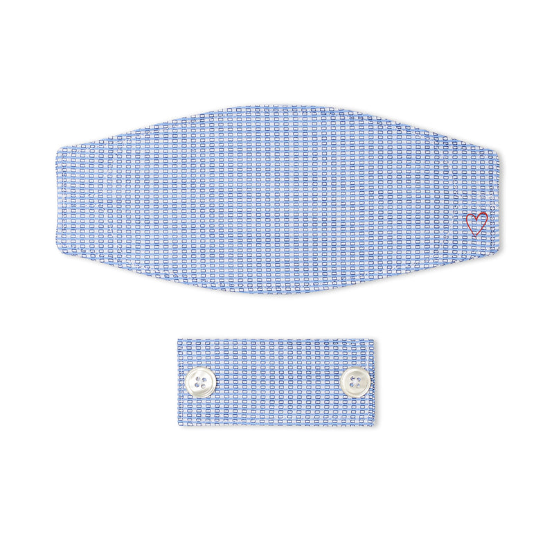 Blue and White Pick Stitch Stripe Mask