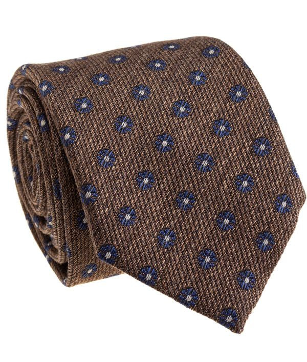 Brown Blue Silk Neck Tie