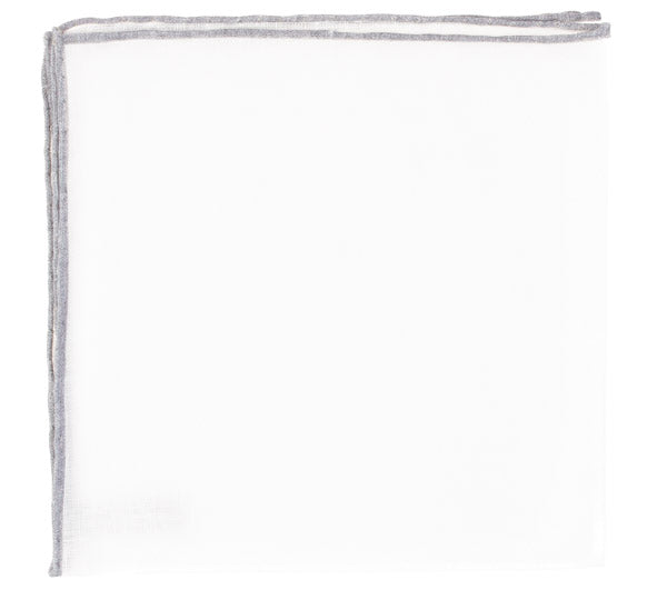 Grey Border Super White Linen Pocket Square
