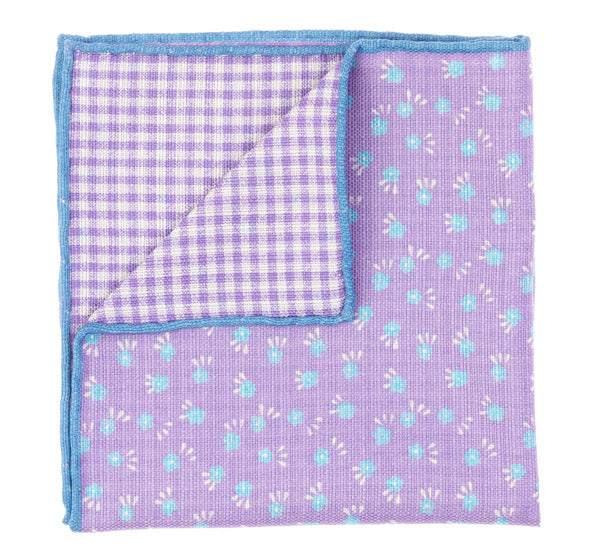 Pink Blue Silk Cotton Pocket Square