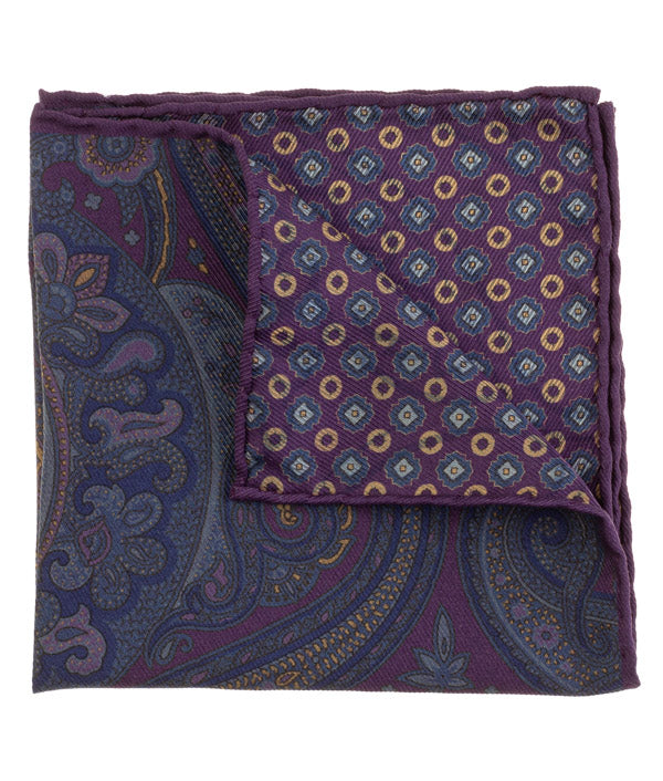 Purple Blue Paisley Pocket Square