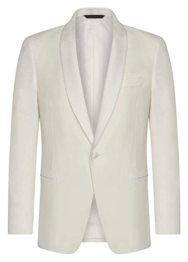 Canadian made White Shawl Collar Wool Dinner Jacket from Samuelsohn