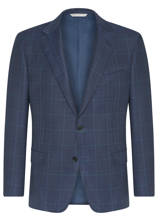 Canadian made Blue Windowpane Super 130s Wool Jacket from Samuelsohn