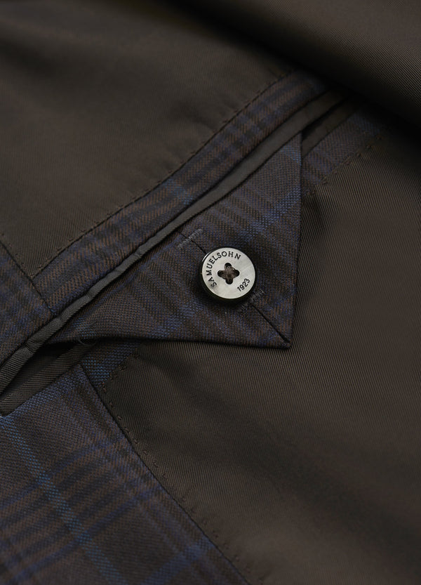 Brown Windowpane Super 130s Jacket - Classic Center Vent