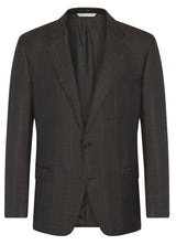 Canadian made Windowpane Brown Super 130s Wool Jacket from Samuelsohn