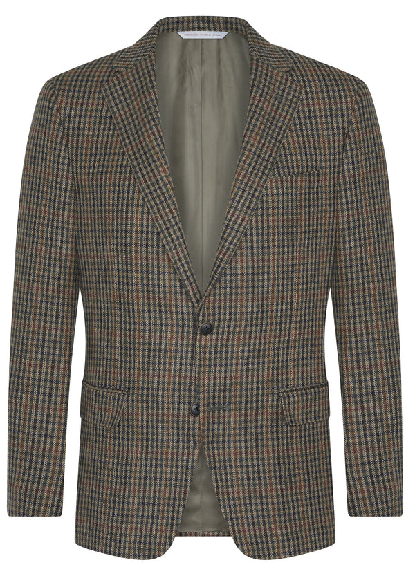 Canadian made Brown Minicheck Super 110s Wool Jacket from Samuelsohn