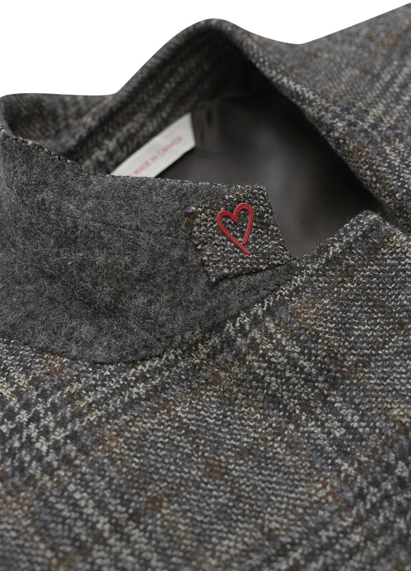 Grey Windowpane Quarter-Lined Jacket - Classic Fit