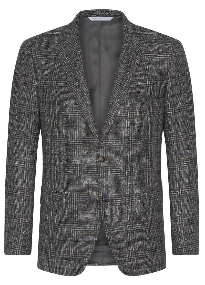 Canadian made Grey Windowpane Wool Jacket from Samuelsohn