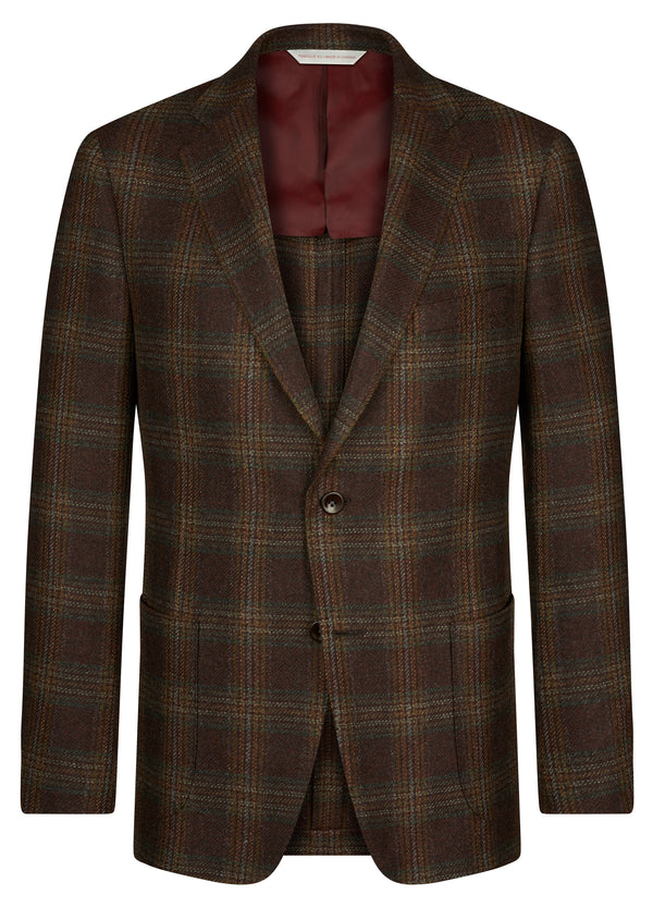 Canadian made Bordeaux Check Classic Jacket from Samuelsohn