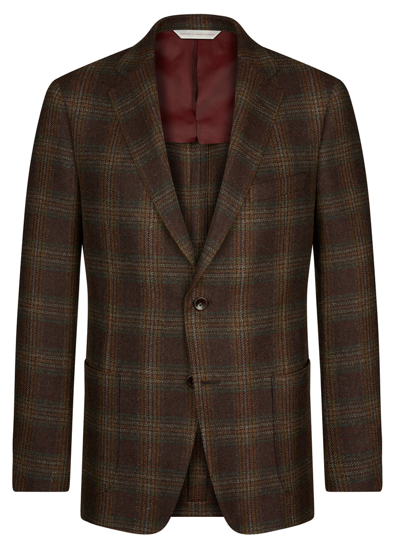 Canadian made Bordeaux Check Jacket from Samuelsohn