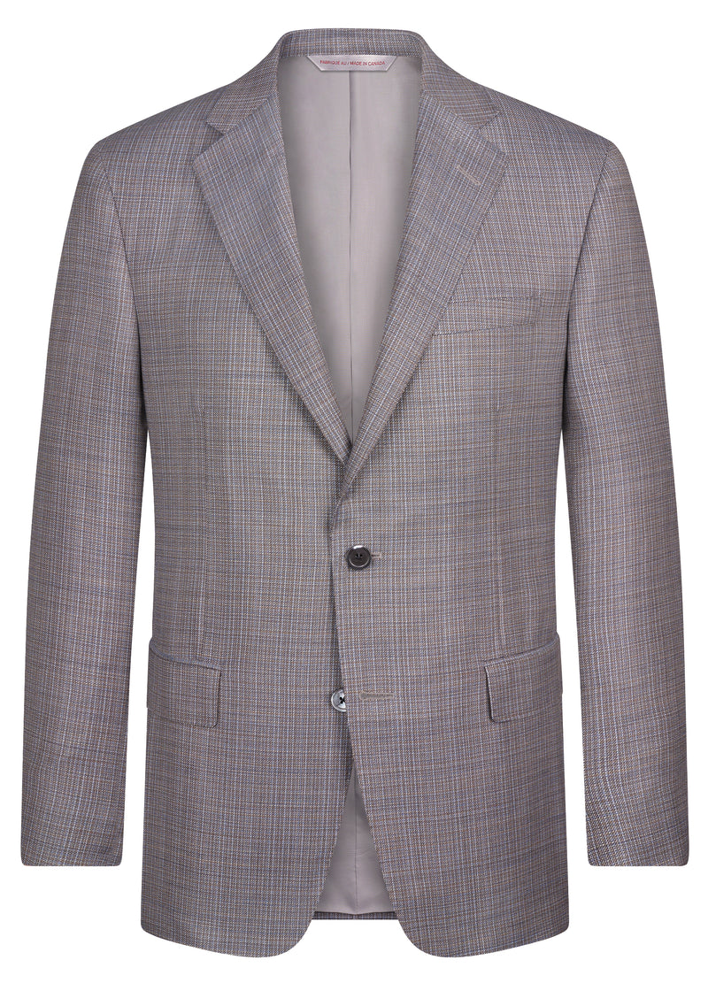 Canadian made Taupe Grey Textured Classic Jacket from Samuelsohn