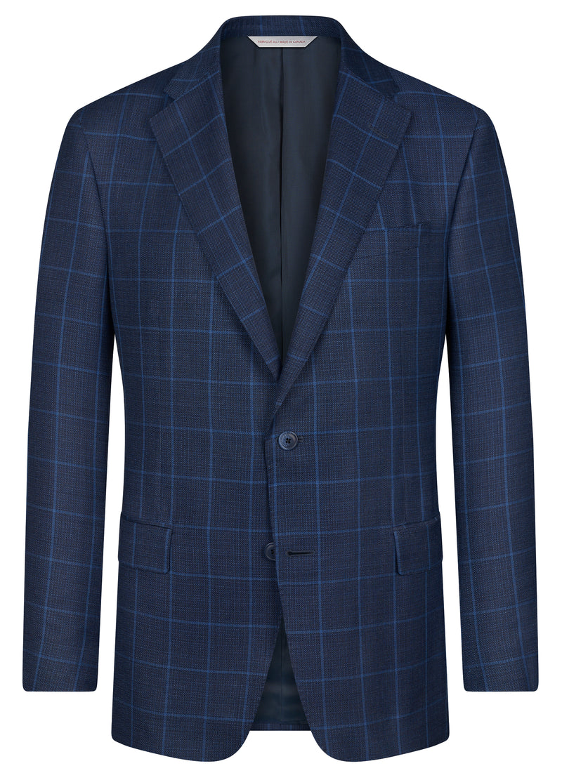 Canadian made Blue Windowpane Classic Jacket from Samuelsohn