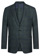 Canadian made Green Blue Windowpane Supersoft Jacket from Samuelsohn