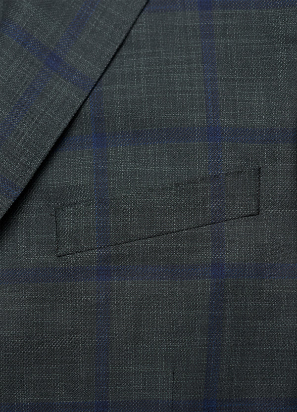 Ice Wool + Silk Green Windowpane Jacket - Trim Fit