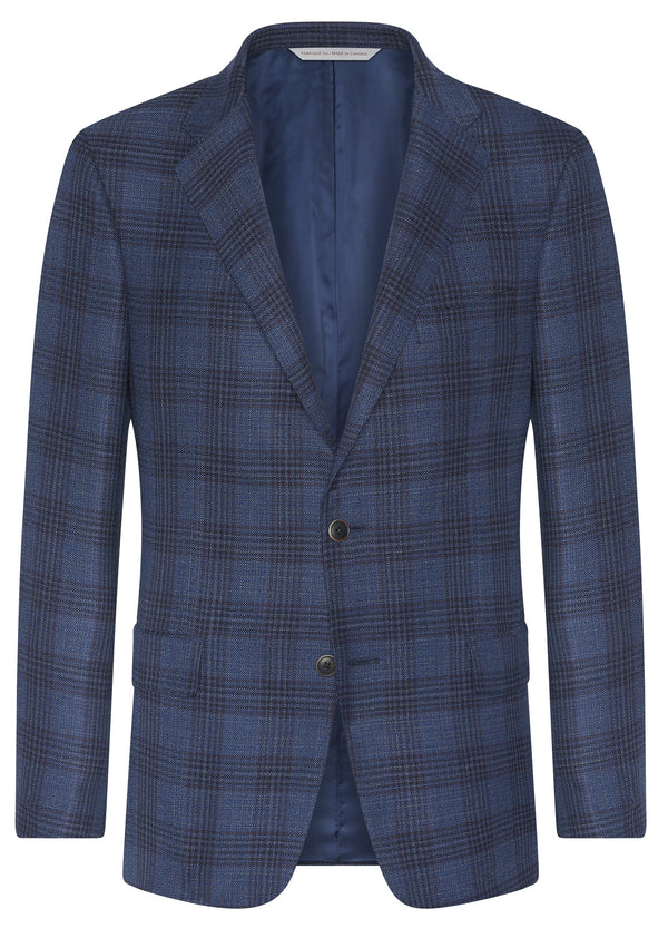Canadian made Blue Plaid Zelander Jacket from Samuelsohn