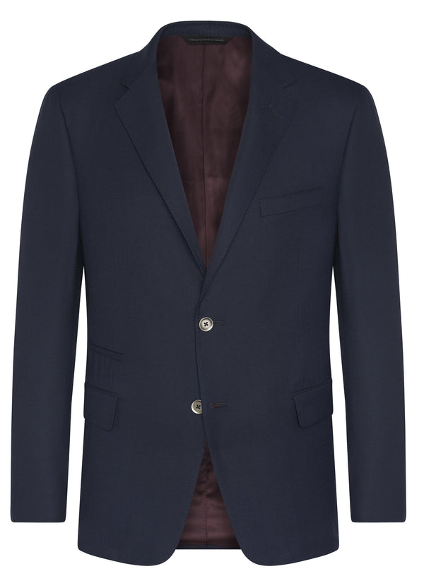 Canadian made Solid Navy Super 130s Wool Jacket from Samuelsohn