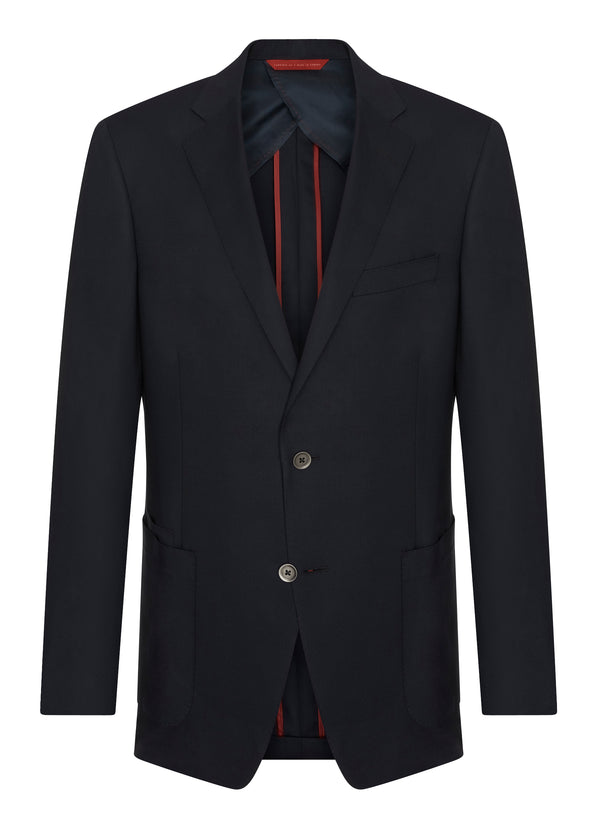 Canadian made Navy Stretch Travel Blazer from Samuelsohn