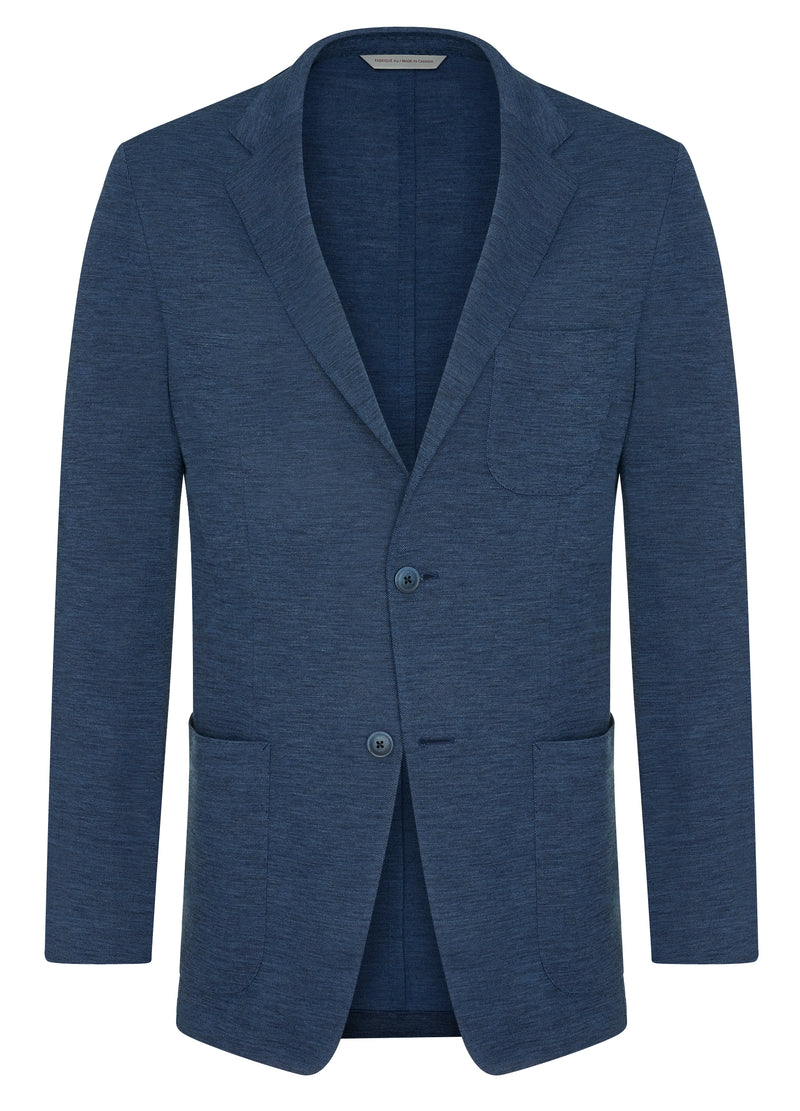 Canadian made Blue Knit Jacket from Samuelsohn