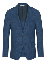 Canadian made Blue Ice Wool Minicheck Jacket from Samuelsohn