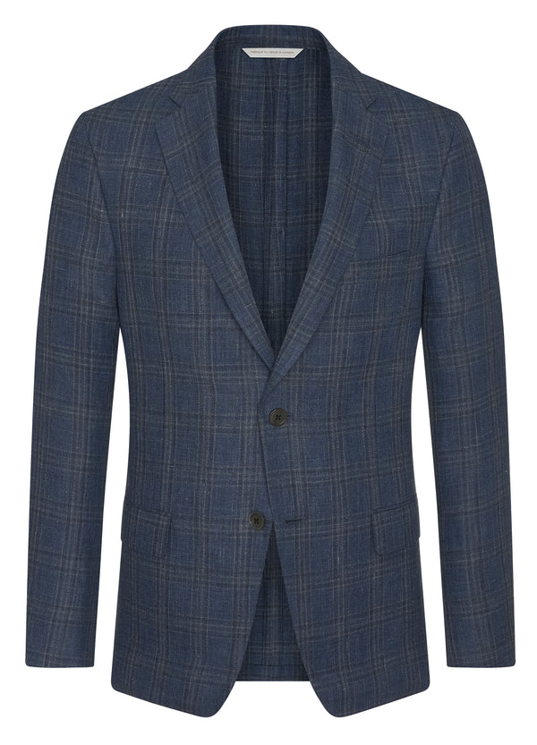 Canadian made Denim Linecheck Plaid Jacket from Samuelsohn