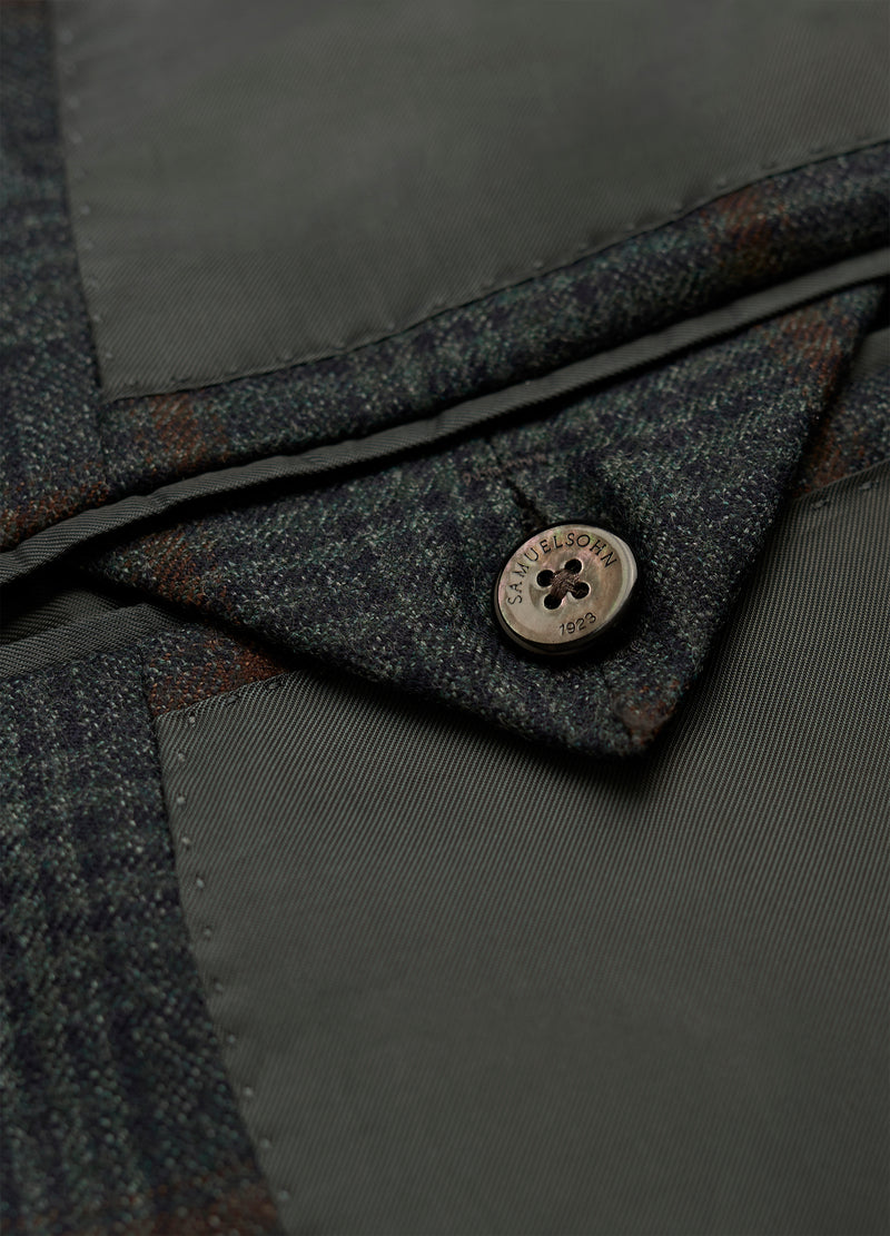 Olive Grey Glencheck Windowpane Jacket
