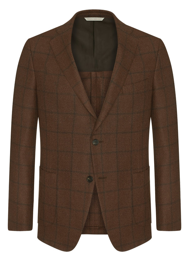 Canadian made Copper Windowpane DreamTweed Classic Jacket from Samuelsohn
