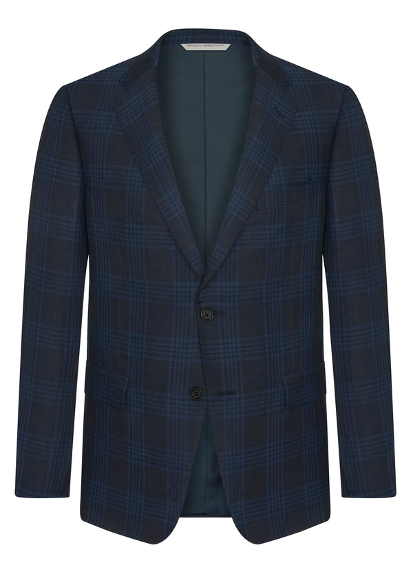 Canadian made Navy Blue Tonal Check Jacket from Samuelsohn