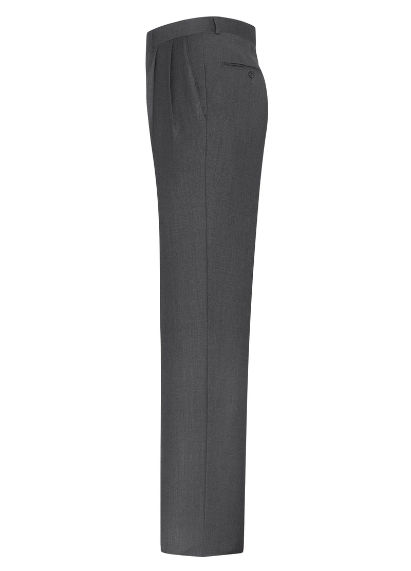 Canadian made Grey Double Reverse Pleat Trousers from Samuelsohn