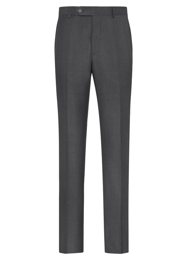 Canadian made Grey Classic Flat Front Trousers from Samuelsohn