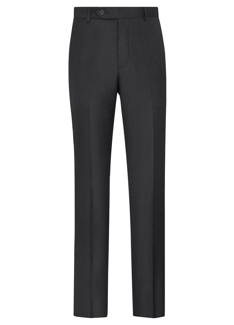 Canadian made Charcoal Classic Flat Fit Trousers from Samuelsohn