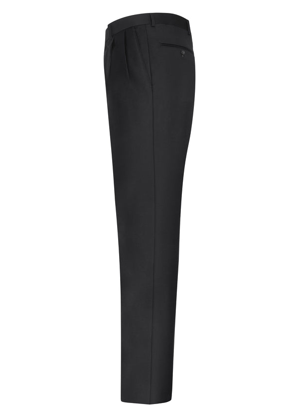 Black Double Reverse Pleat Trousers