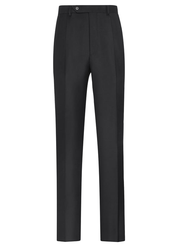 Canadian made Black Double Reverse Pleat Trousers from Samuelsohn