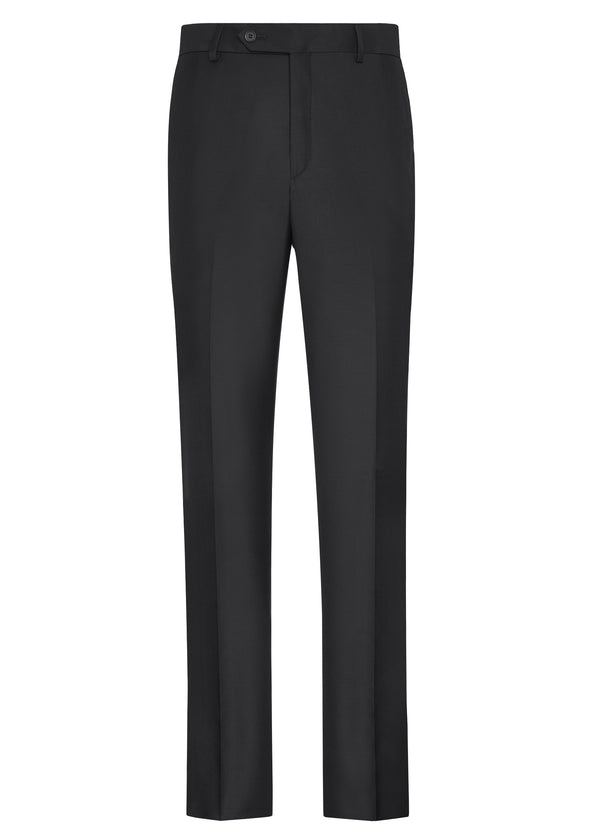 Canadian made Black Classic Flat Front Trousers from Samuelsohn