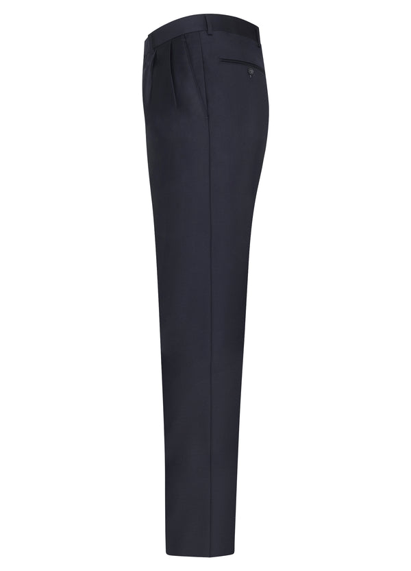 Navy Double Reverse Pleat Trousers